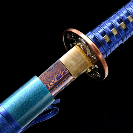 Pattern steel roasted Double Fish Blue Samurai Sword
