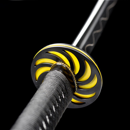 Rail steel black whirling Samurai Dao katana